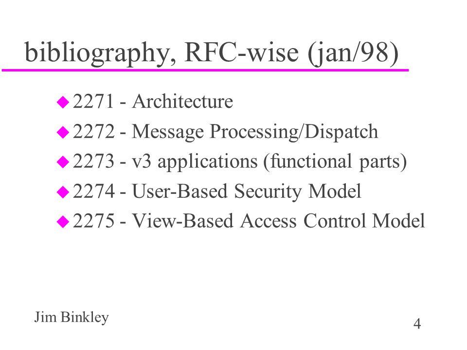 4 Jim Binkley bibliography, RFC-wise (jan/98) u 2271 - Architecture u 2272 - Message Processing/Dispatch u 2273 - v3 applications (functional parts) u 2274 - User-Based Security Model u 2275 - View-Based Access Control Model