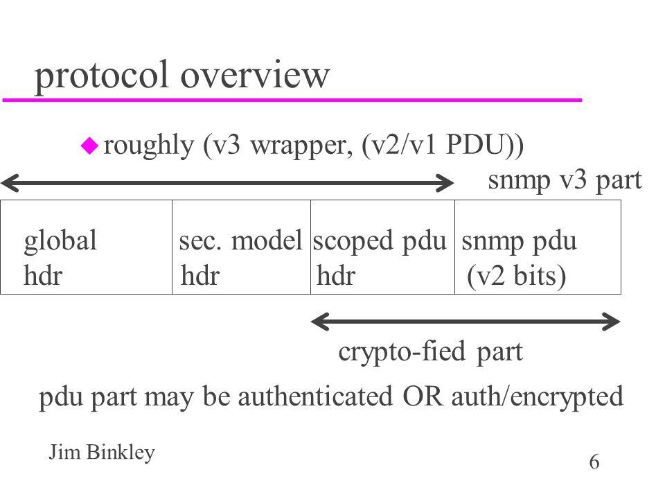 6 Jim Binkley protocol overview u roughly (v3 wrapper, (v2/v1 PDU)) global sec.