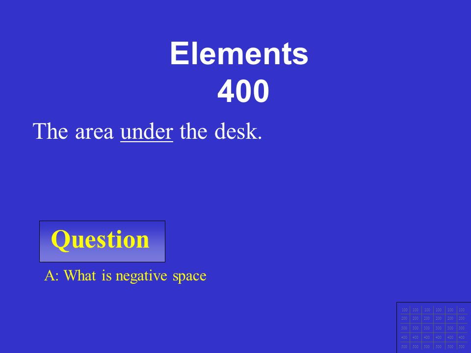 Question 100 200 300 400 500 A: What are forms? Cubes, spheres, pyramids, cones, cylinders. Elements 300
