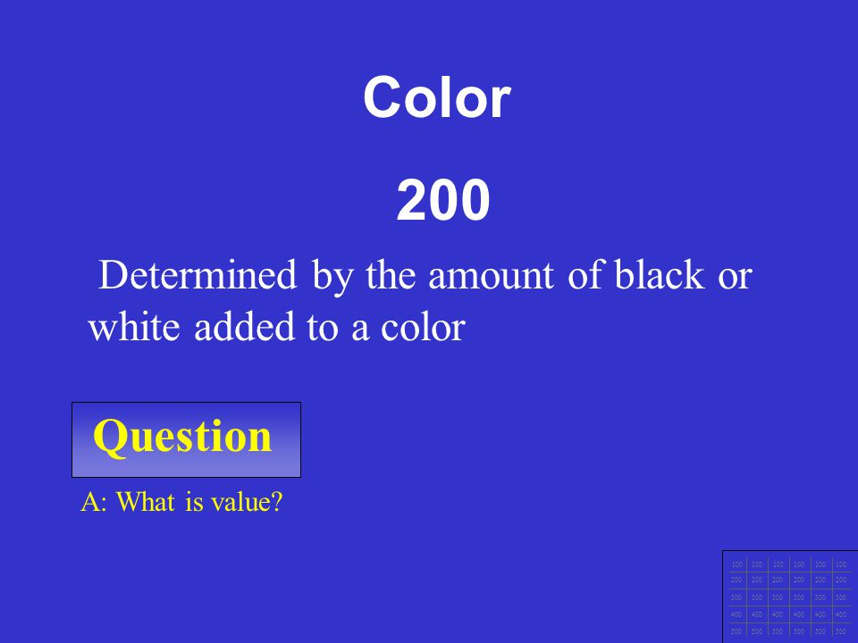 Question 100 200 300 400 500 A: What is hue? Another term for color. Color 100