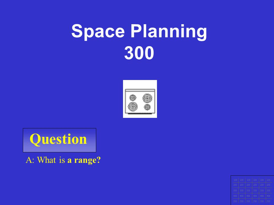 Question 100 200 300 400 500 A: What is a door? Space planning 200