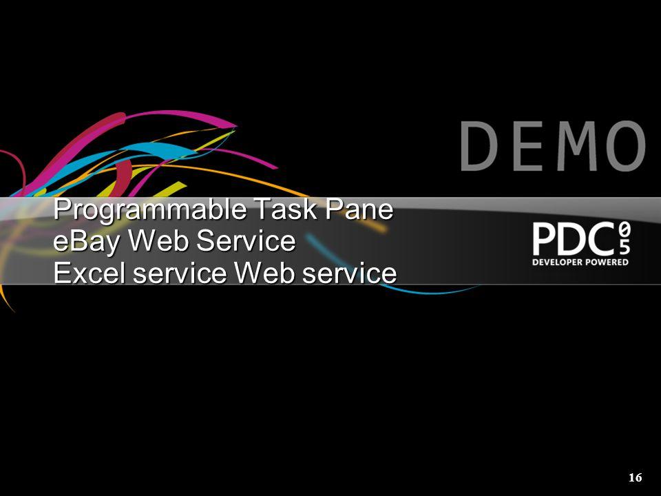 16 Programmable Task Pane eBay Web Service Excel service Web service