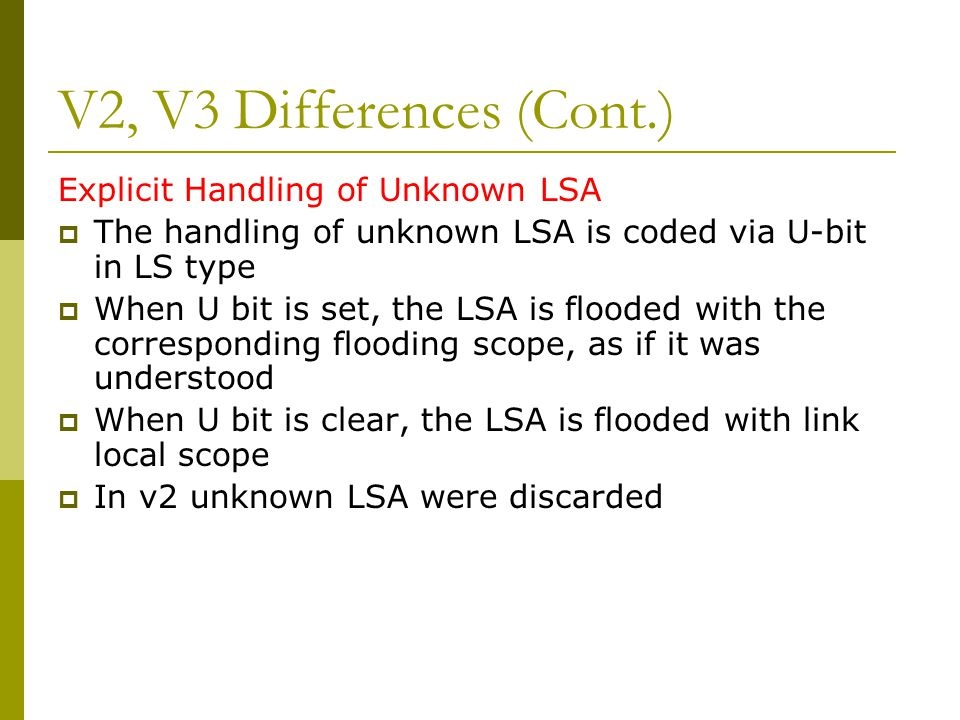 V2, V3 Differences (Cont.) Explicit Handling of Unknown LSA  The handling of unknown LSA is coded via U-bit in LS type  When U bit is set, the LSA is flooded with the corresponding flooding scope, as if it was understood  When U bit is clear, the LSA is flooded with link local scope  In v2 unknown LSA were discarded
