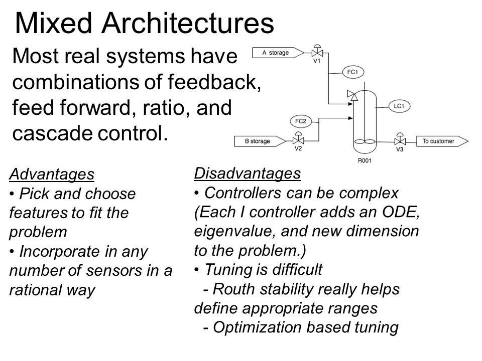 Mixed Architectures Most real systems have combinations of feedback, feed forward, ratio, and cascade control.