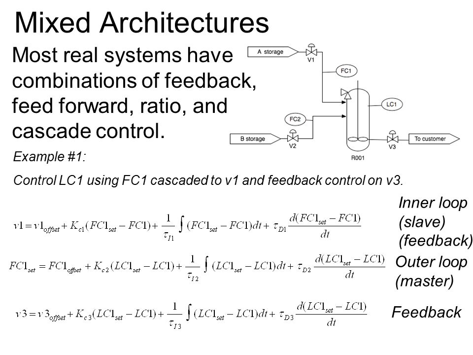 Mixed Architectures Example #1: Control LC1 using FC1 cascaded to v1 and feedback control on v3.