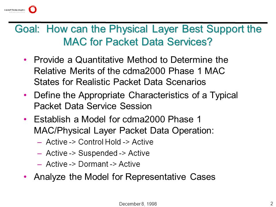 December 8, 1998 2 Goal: How can the Physical Layer Best Support the MAC for Packet Data Services.