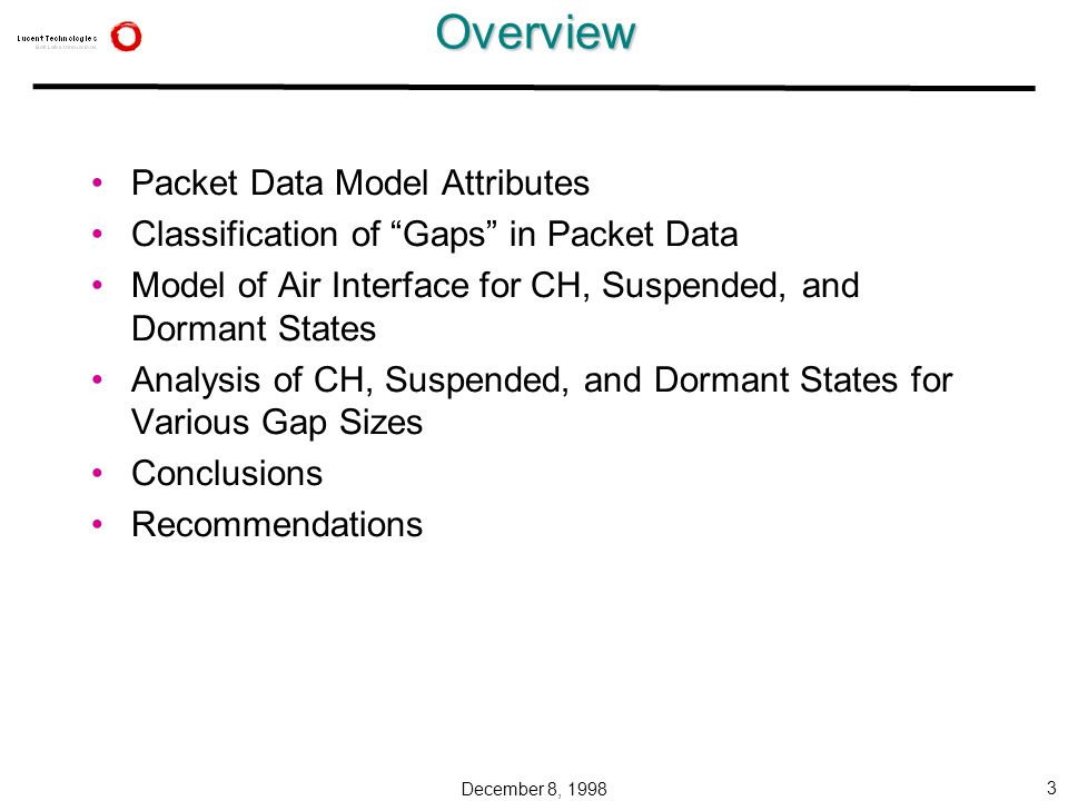 December 8, 1998 3Overview Packet Data Model Attributes Classification of Gaps in Packet Data Model of Air Interface for CH, Suspended, and Dormant States Analysis of CH, Suspended, and Dormant States for Various Gap Sizes Conclusions Recommendations