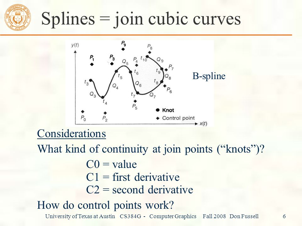 University of Texas at Austin CS384G - Computer Graphics Fall 2008 Don Fussell 6 Splines = join cubic curves Considerations What kind of continuity at join points ( knots ).