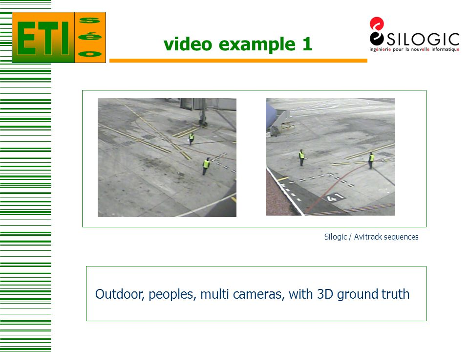 video example 2 Outdoor, people and vehicles, multi cameras, with shadows and occlusions Silogic / Avitrack sequences