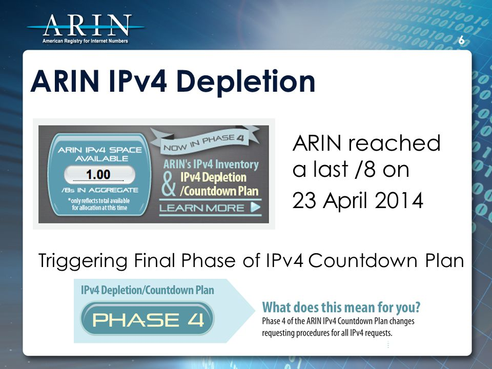 ARIN IPv4 Depletion ARIN reached a last /8 on 23 April 2014 6 Triggering Final Phase of IPv4 Countdown Plan