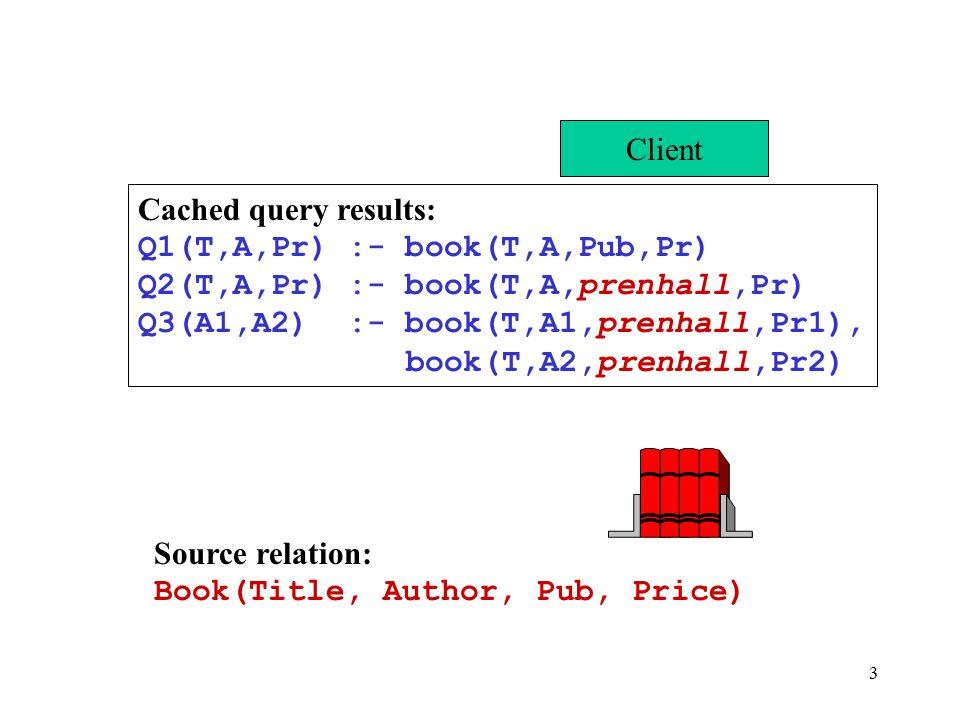 3 Client Source relation: Book(Title, Author, Pub, Price) Cached query results: Q1(T,A,Pr) :- book(T,A,Pub,Pr) Q2(T,A,Pr) :- book(T,A,prenhall,Pr) Q3(