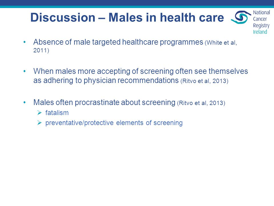 Discussion – Males in health care Absence of male targeted healthcare programmes (White et al, 2011) When males more accepting of screening often see themselves as adhering to physician recommendations (Ritvo et al, 2013) Males often procrastinate about screening (Ritvo et al, 2013)  fatalism  preventative/protective elements of screening