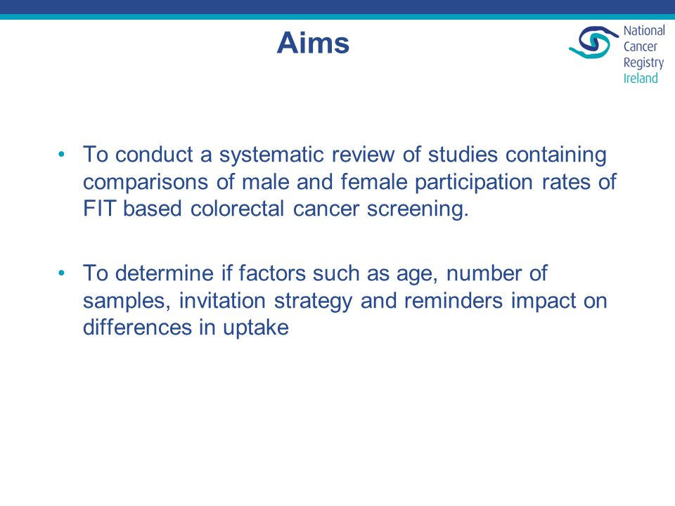 Aims To conduct a systematic review of studies containing comparisons of male and female participation rates of FIT based colorectal cancer screening.