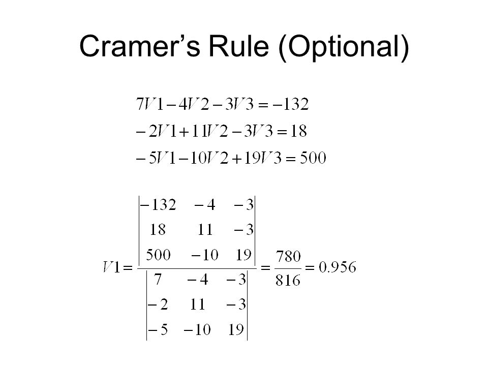 Cramer's Rule (Optional)