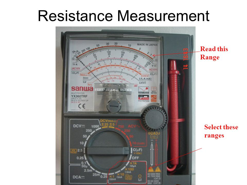 Resistance Measurement Read this Range Select these ranges