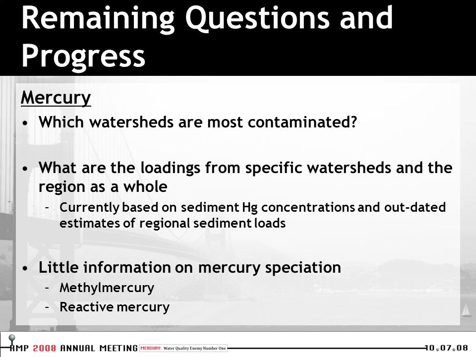 Mercury Which watersheds are most contaminated.