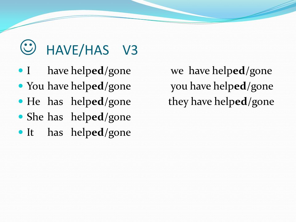 INTERROGATIVE We form questions with regular and irregular verbs in the present perfect with have/has+ past participle (V3).