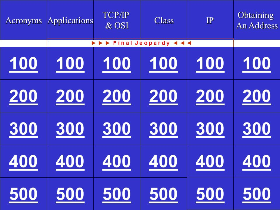 CCNA1 v3 Module 9 Question 100 200 300 400 500 CCNA1 v3 Module 9 A: What is the Trivial File Transfer Protocol (TFTP).