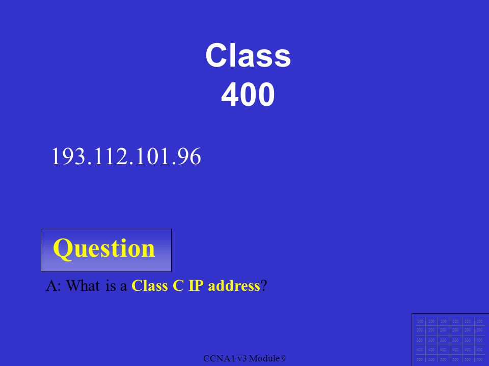CCNA1 v3 Module 9 Question 100 200 300 400 500 CCNA1 v3 Module 9 A: What is a Class A IP address.