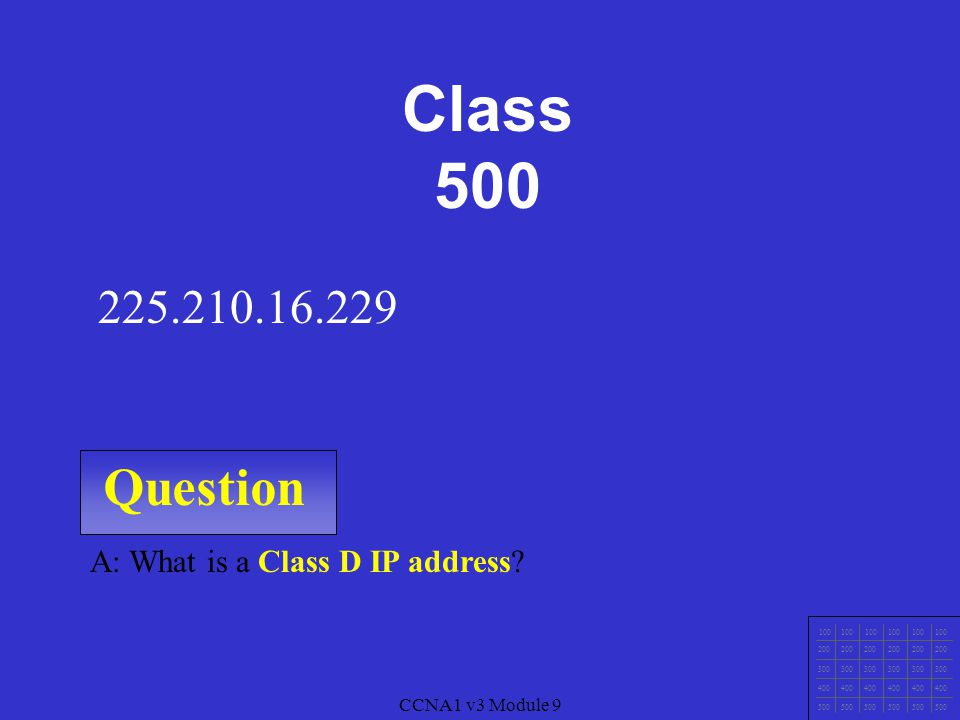 CCNA1 v3 Module 9 Question 100 200 300 400 500 CCNA1 v3 Module 9 A: What is a Class C IP address.