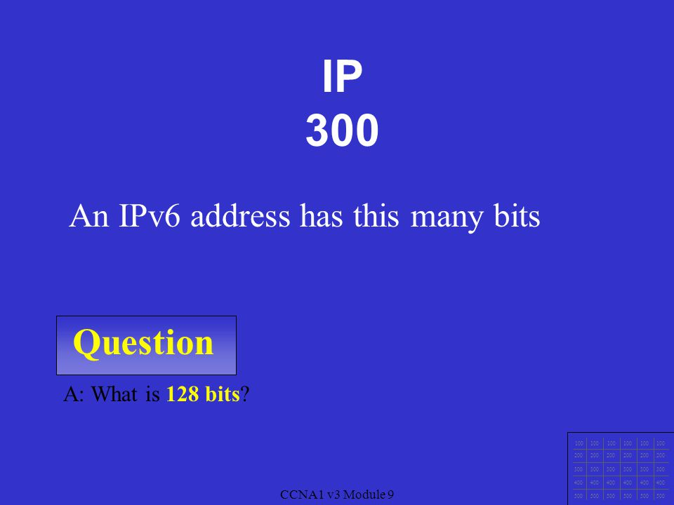 CCNA1 v3 Module 9 Question 100 200 300 400 500 CCNA1 v3 Module 9 A: What is a Private IP address.