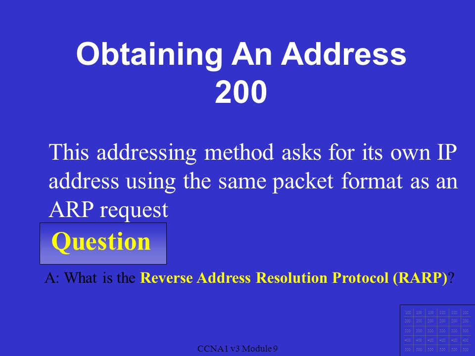 CCNA1 v3 Module 9 Question 100 200 300 400 500 CCNA1 v3 Module 9 A: What is the Address Resolution Protocol (ARP).