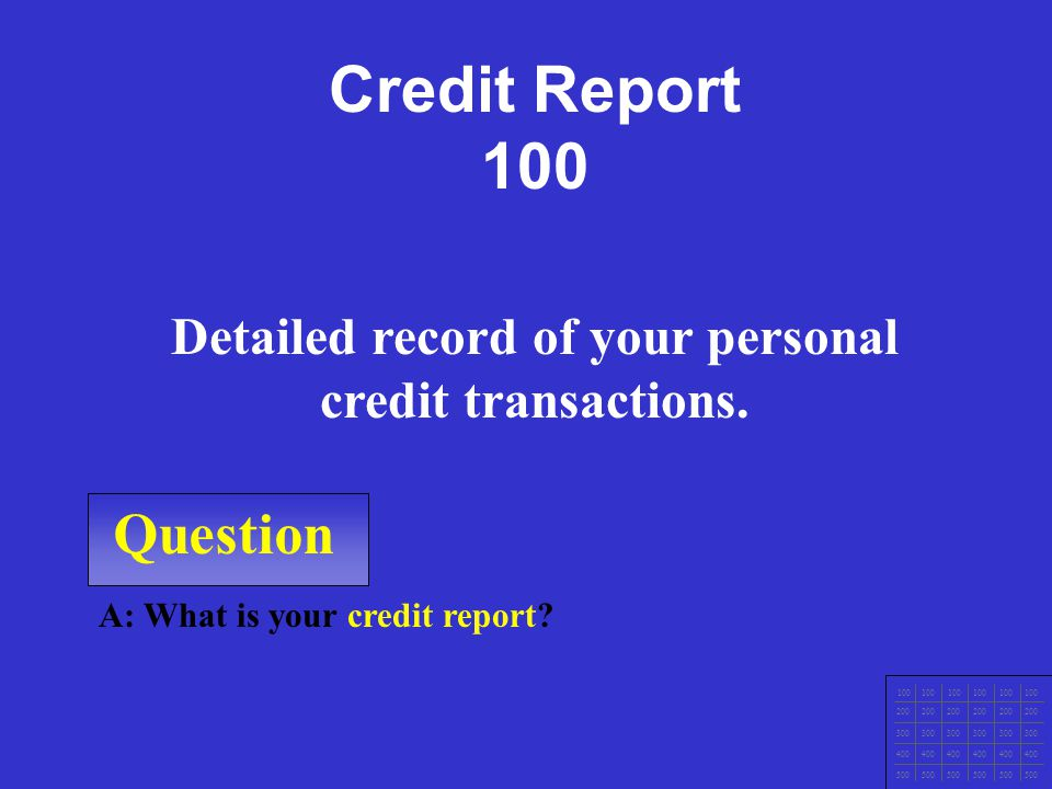 Question 100 200 300 400 500 A: What is the Fair Debt Collections Practices Act? Prevents abuse by professional debt collectors and applies to anyone
