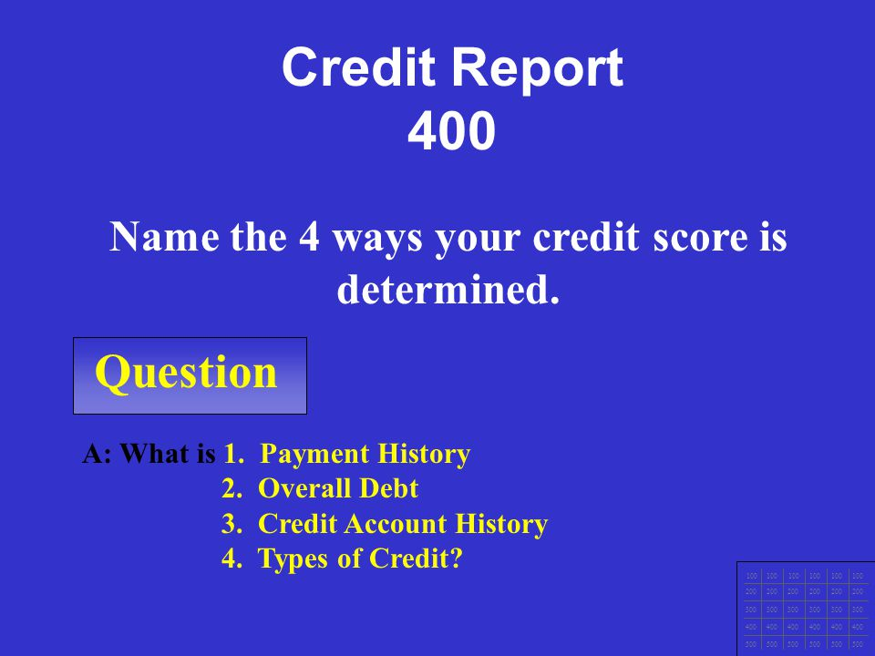 Question 100 200 300 400 500 A: What is Make sure your credit report is accurate, Pay bills on time, Apply for credit only when needed, Lower balances
