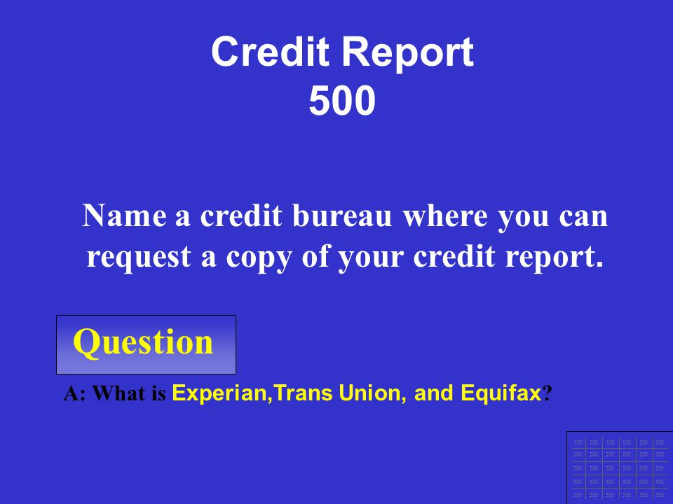 Question 100 200 300 400 500 A: What is 1. Payment History 2. Overall Debt 3. Credit Account History 4. Types of Credit? Name the 4 ways your credit s