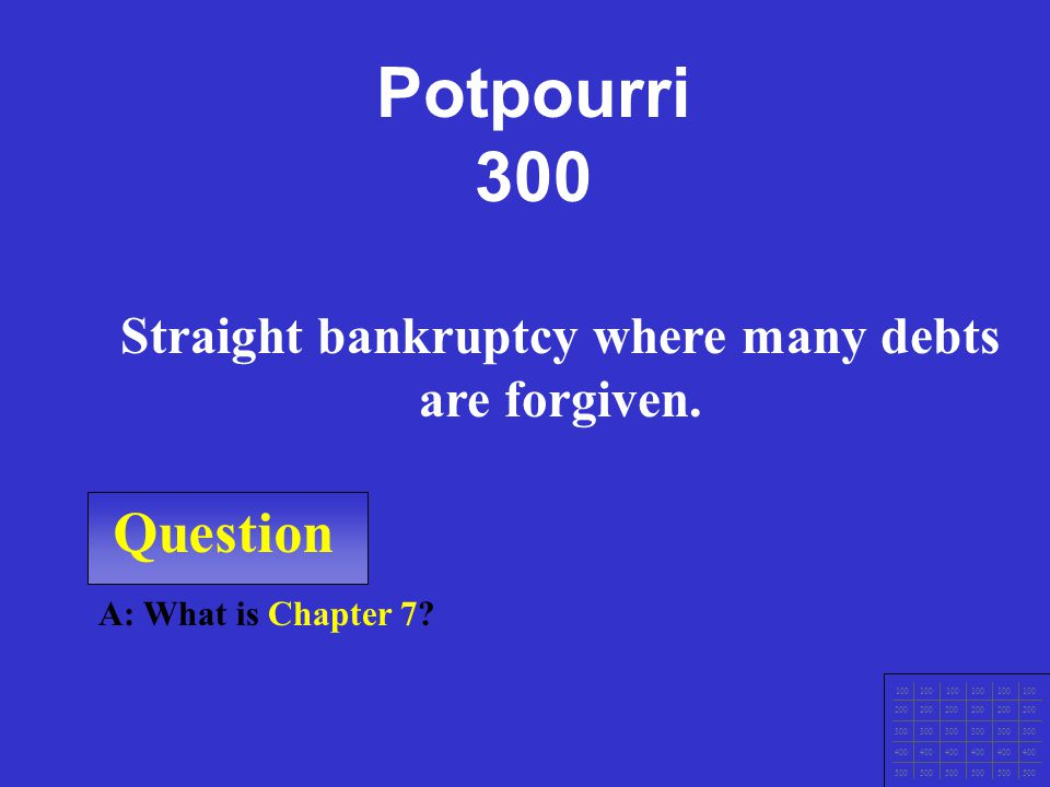 Question 100 200 300 400 500 A: What is get items now, build credit history, quick source of $ during emergencies, No charge if bill is PIF, and consu