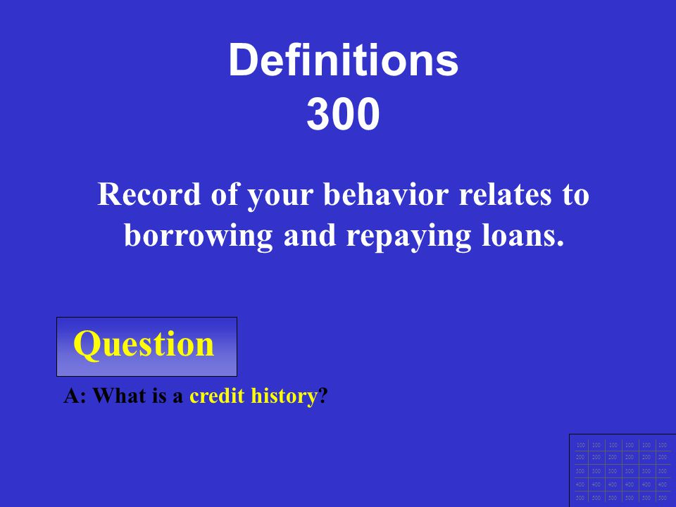 \\ Question A: What is debt? The entire amount of money you owe. Definitions 200 100 200 300 400 500