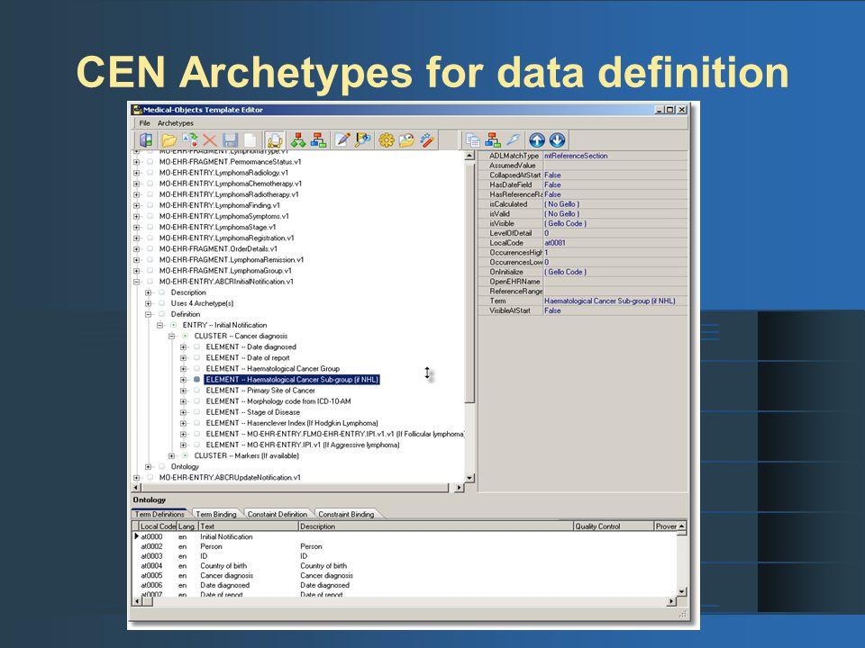 CEN Archetypes for data definition