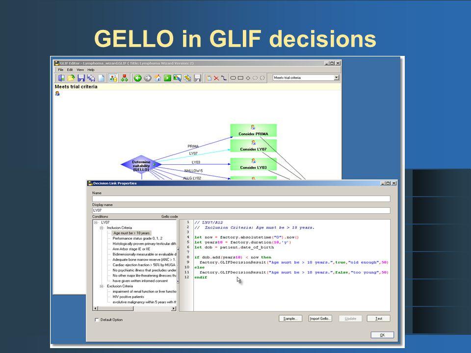 GELLO in GLIF decisions