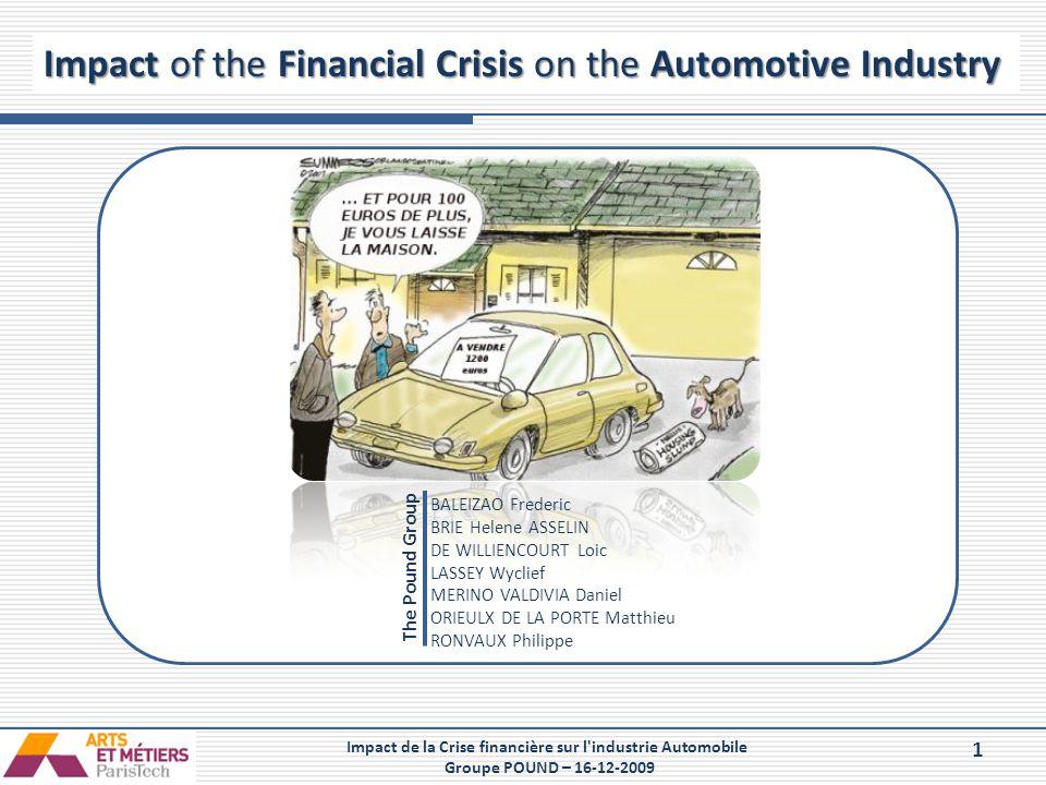 1 Impact de la Crise financière sur l'industrie Automobile Groupe POUND – 16-12-2009 Impact of the Financial Crisis on the Automotive Industry The Pou