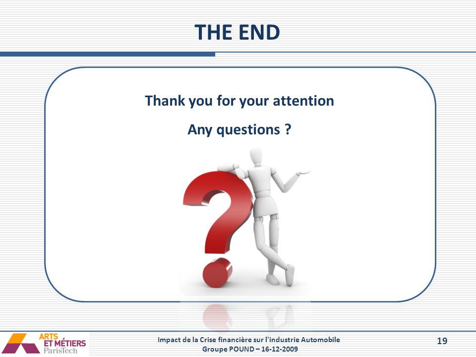 19 Impact de la Crise financière sur l'industrie Automobile Groupe POUND – 16-12-2009 THE END Thank you for your attention Any questions ?