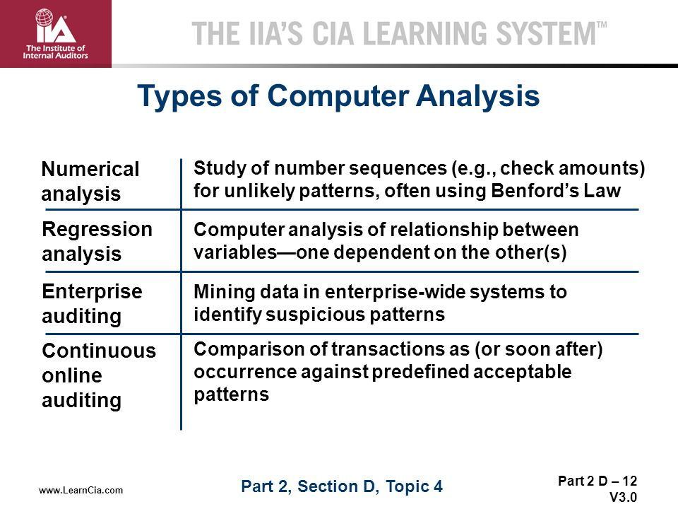 Part 2 D – 12 V3.0 THE IIA'S CIA LEARNING SYSTEM TM www.LearnCia.com Types of Computer Analysis Numerical analysis Enterprise auditing Regression anal
