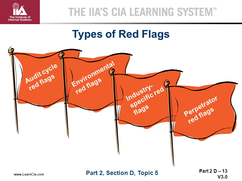 Part 2 D – 13 V3.0 THE IIA'S CIA LEARNING SYSTEM TM www.LearnCia.com Types of Red Flags Part II D-5 Audit cycle red flags Environmental red flags Indu