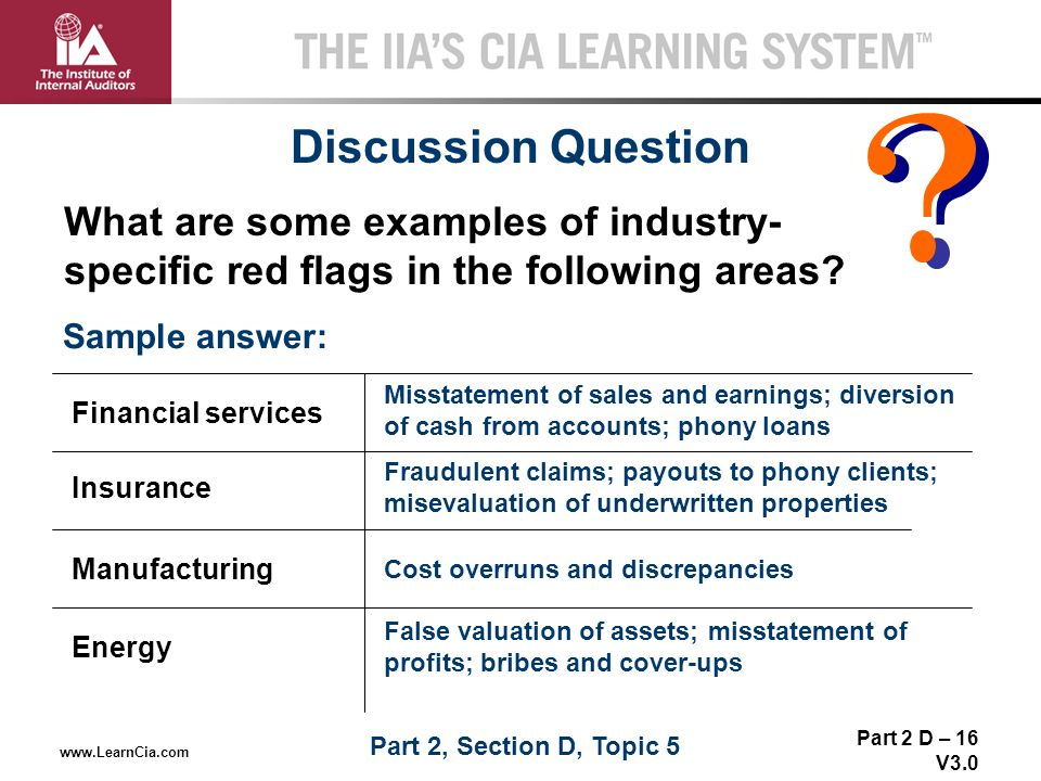 Part 2 D – 16 V3.0 THE IIA'S CIA LEARNING SYSTEM TM www.LearnCia.com Discussion Question Sample answer: What are some examples of industry- specific r