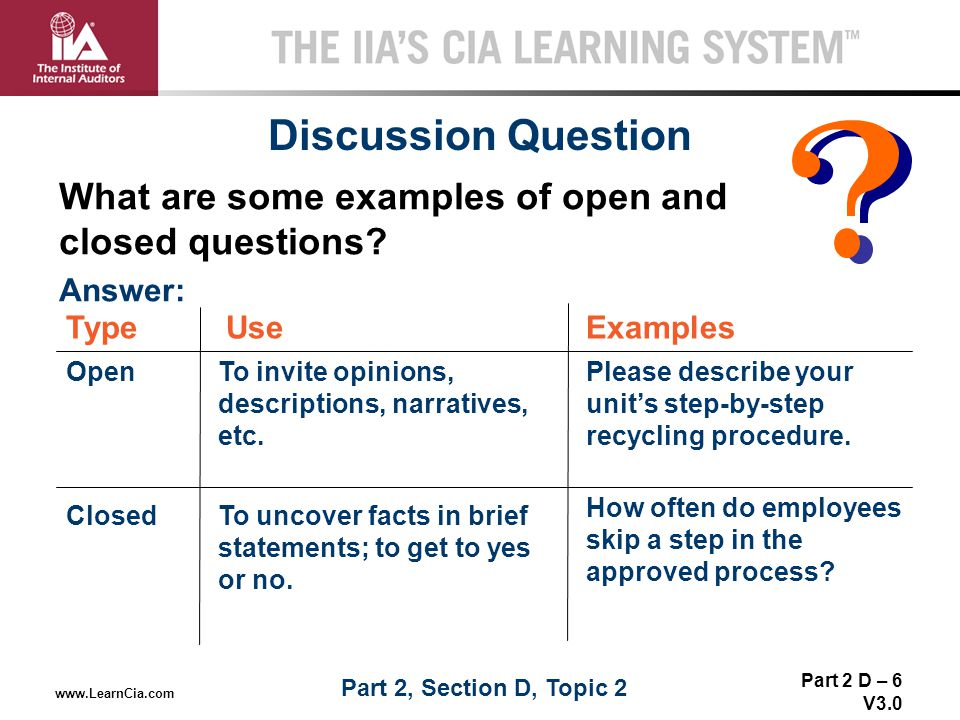 Part 2 D – 6 V3.0 THE IIA'S CIA LEARNING SYSTEM TM www.LearnCia.com Discussion Question What are some examples of open and closed questions? Use Open