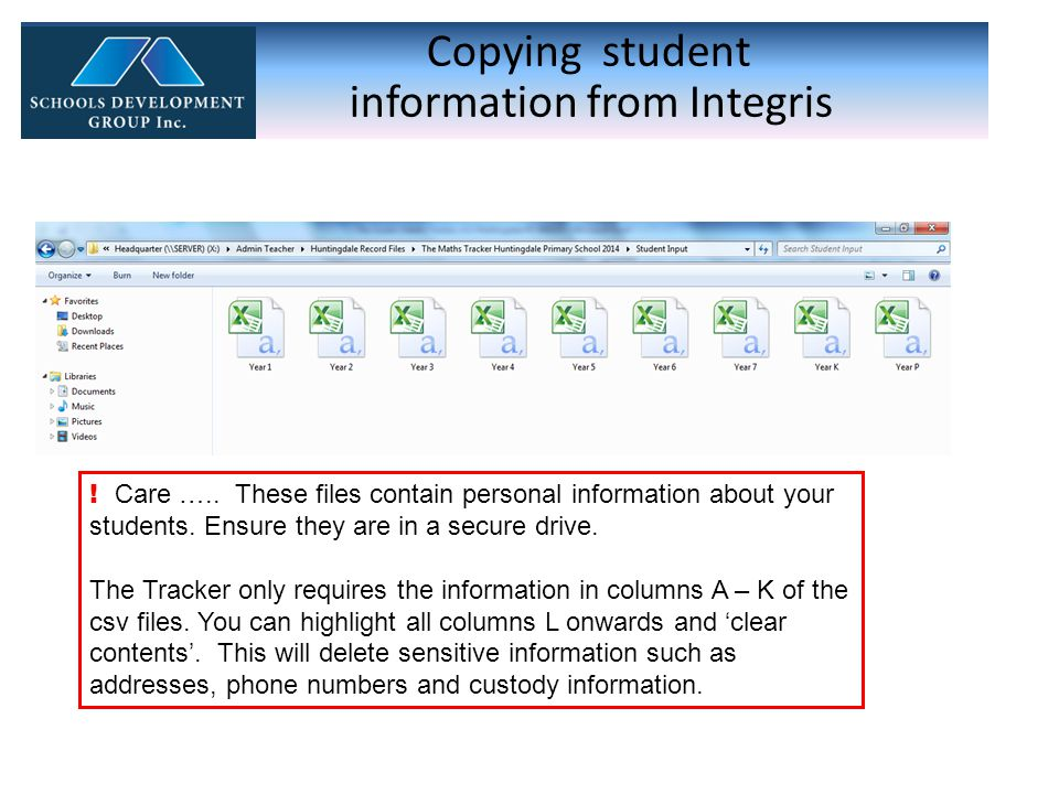 Copying student information from Integris . Care …..