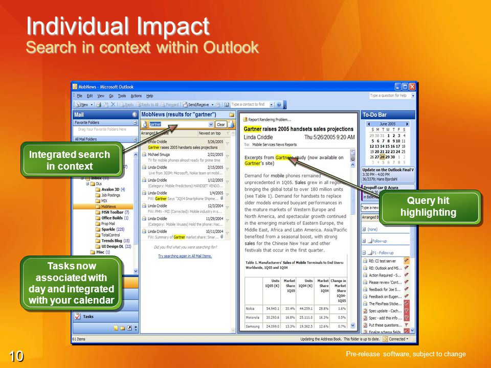 10 Individual Impact Search in context within Outlook Pre-release software, subject to change Integrated search in context Tasks now associated with d