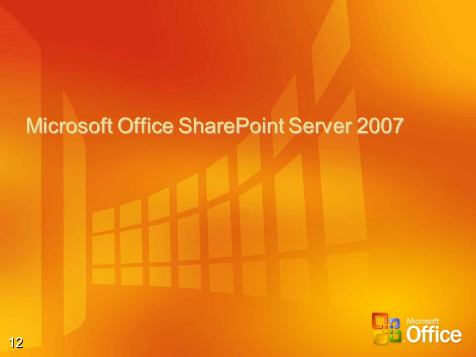 12 Microsoft Office SharePoint Server 2007