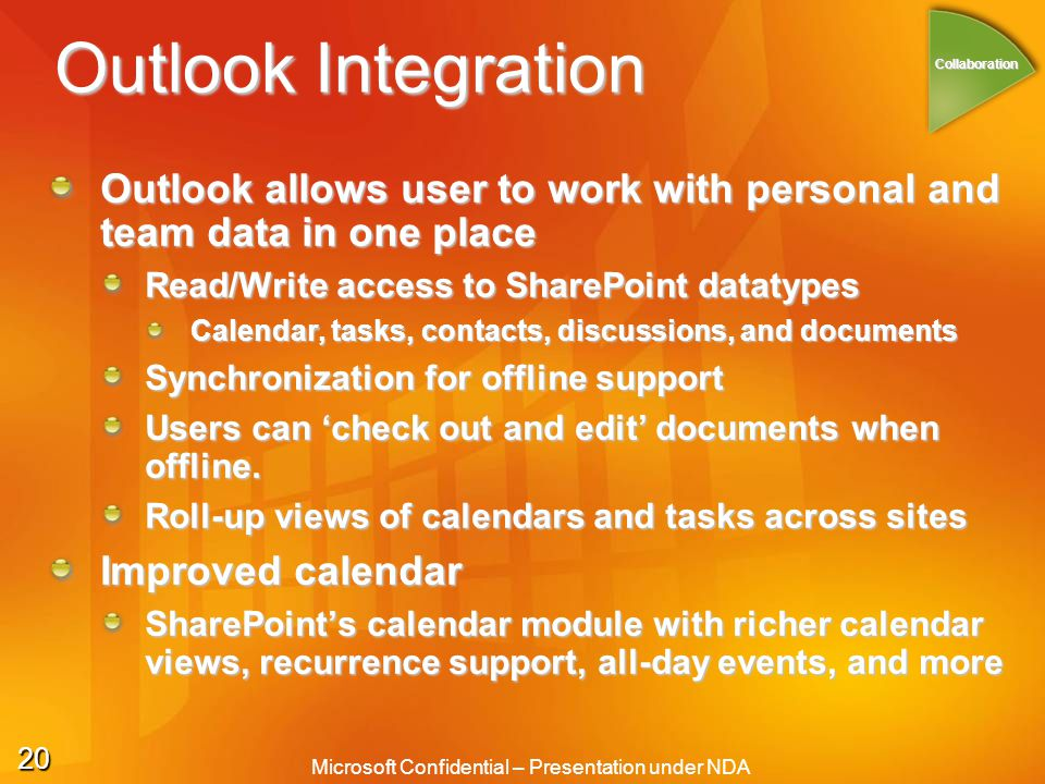 20 Microsoft Confidential – Presentation under NDA Outlook Integration Outlook allows user to work with personal and team data in one place Read/Write