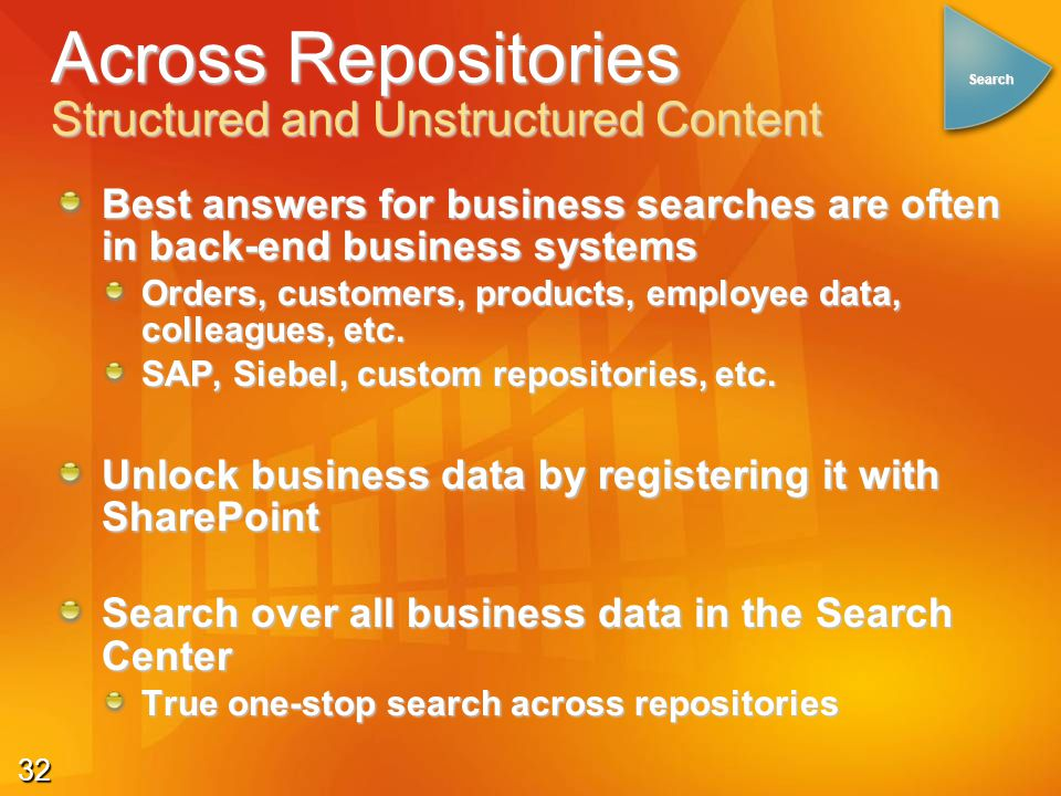 32 Best answers for business searches are often in back-end business systems Orders, customers, products, employee data, colleagues, etc. SAP, Siebel,