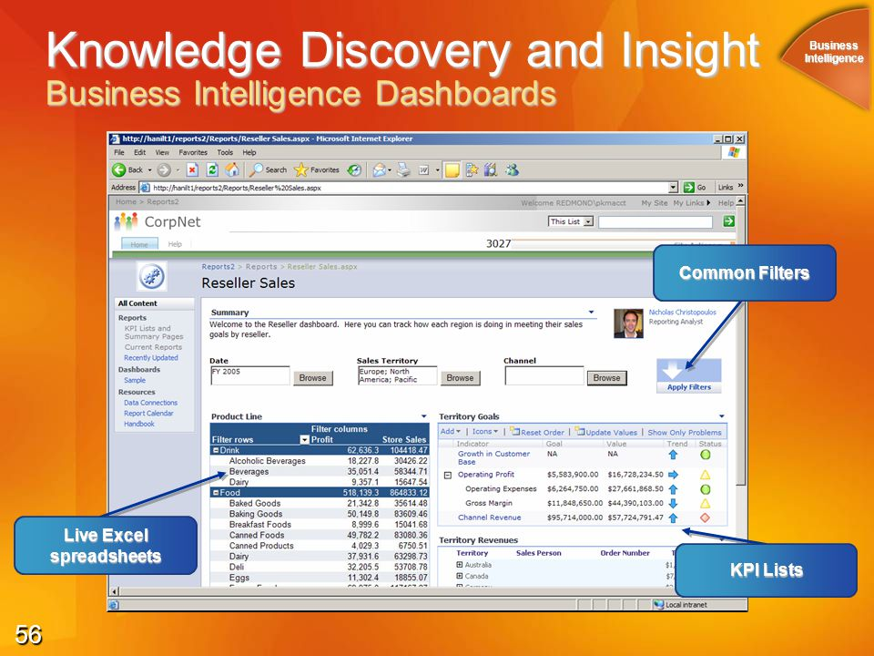 56 Knowledge Discovery and Insight Business Intelligence Dashboards KPI Lists Live Excel spreadsheets Common Filters BusinessIntelligence
