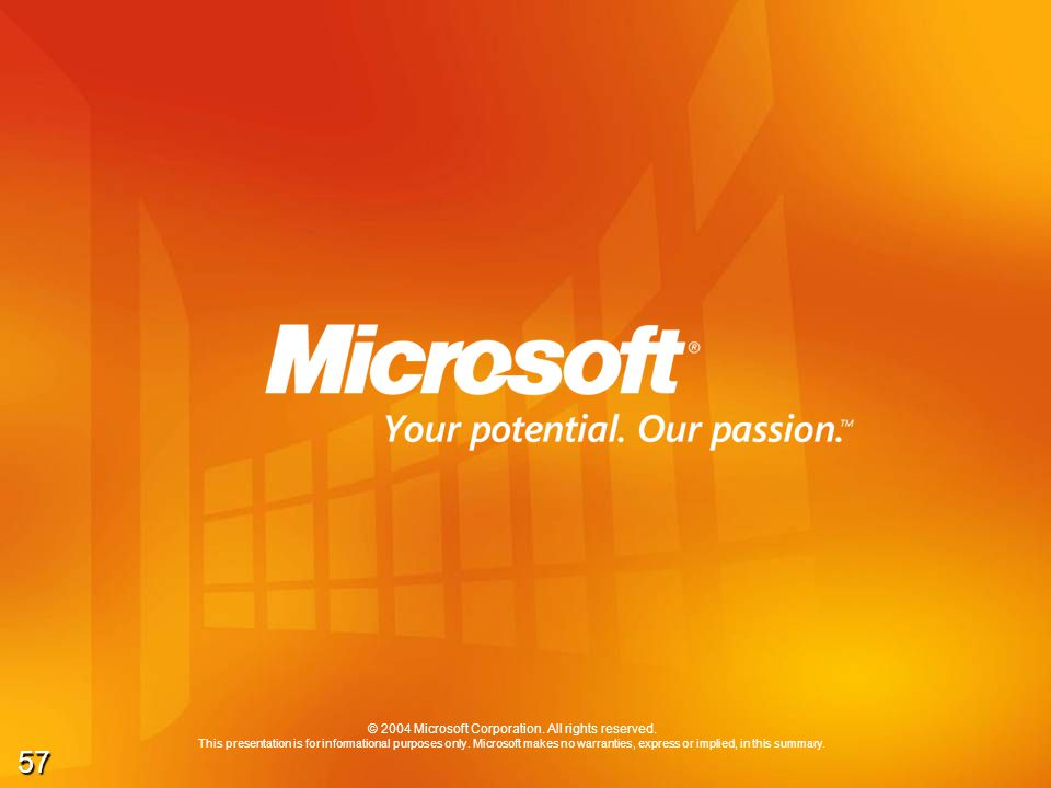 57 © 2004 Microsoft Corporation. All rights reserved. This presentation is for informational purposes only. Microsoft makes no warranties, express or