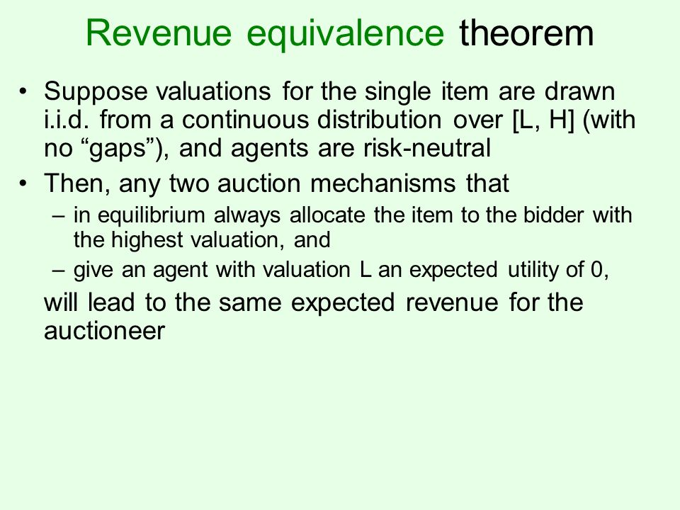 Revenue equivalence theorem Suppose valuations for the single item are drawn i.i.d.