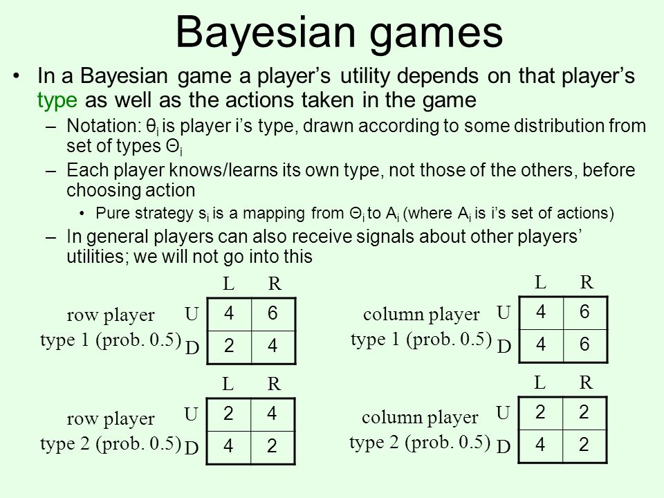 Bayesian games In a Bayesian game a player's utility depends on that player's type as well as the actions taken in the game –Notation: θ i is player i's type, drawn according to some distribution from set of types Θ i –Each player knows/learns its own type, not those of the others, before choosing action Pure strategy s i is a mapping from Θ i to A i (where A i is i's set of actions) –In general players can also receive signals about other players' utilities; we will not go into this 46 24 U D LR row player type 1 (prob.