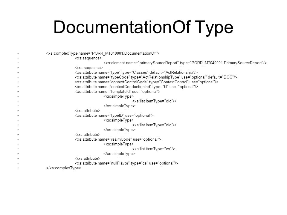 DocumentationOf Type