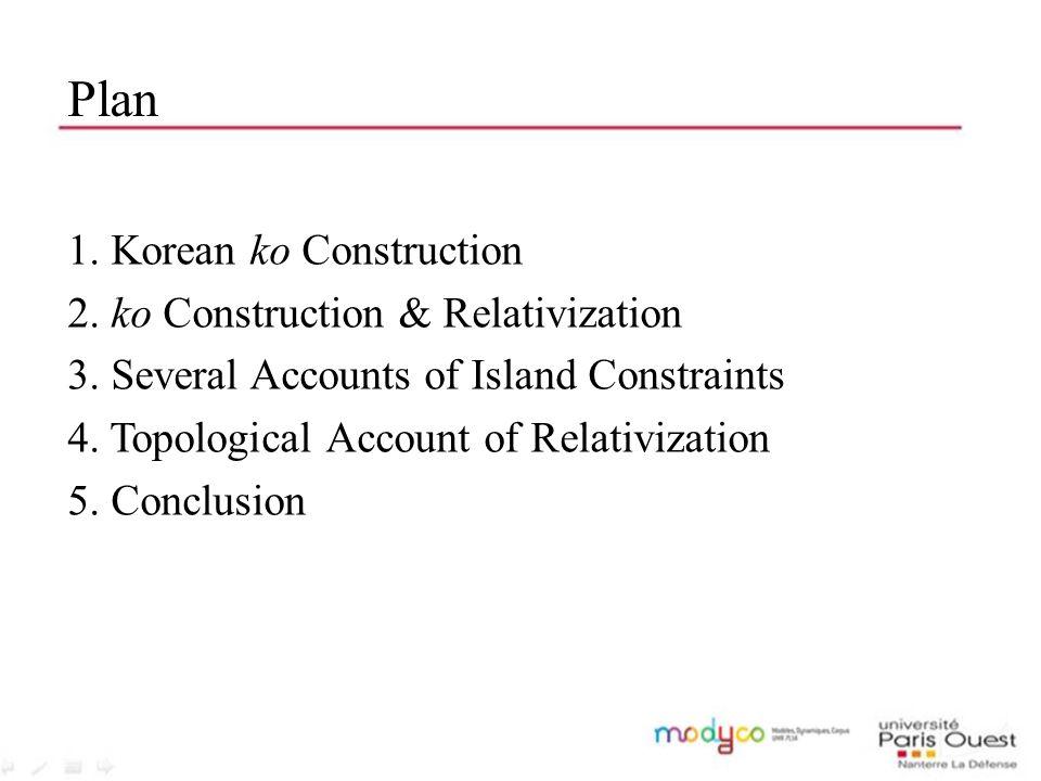 Plan 1. Korean ko Construction 2. ko Construction & Relativization 3. Several Accounts of Island Constraints 4. Topological Account of Relativization